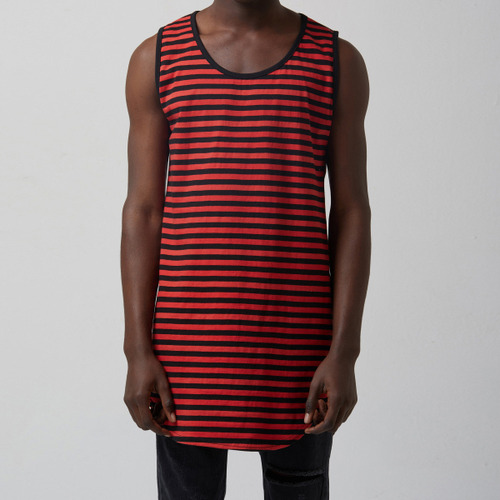 [테이크이지]WASHED STRIPE CTN JRSY CREW NECK TOP(RED/BLACK)
