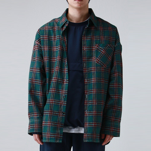 [테이크이지] FLANNELETTE OVER SHIRTS (GREEN)