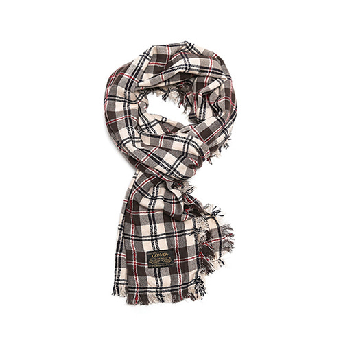 [콘보이] CONVOY Retro Check Pattern Muffler Brown