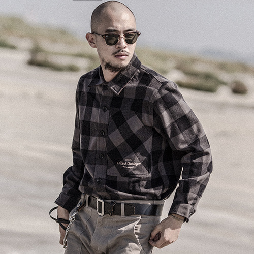 [콘보이] CONVOY Embroidery Check Jacket Gray