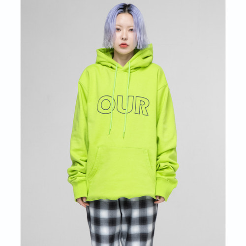 [아워히스토리]OUR Logo Hood T-shirt_Neonlime