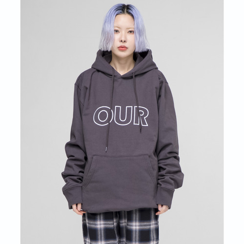 [아워히스토리]OUR Logo Hood T-shirt_Charcoal