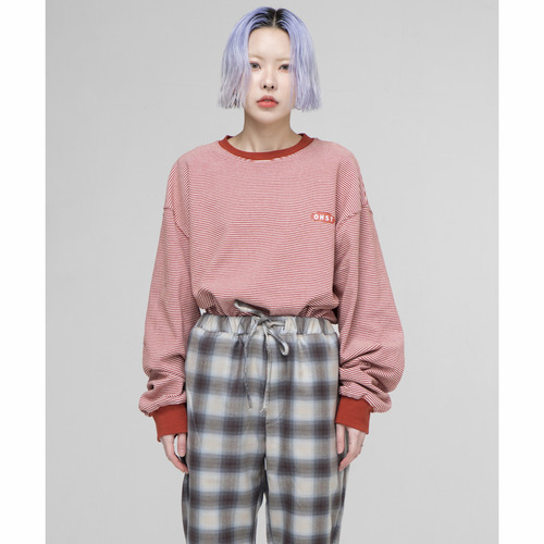 [아워히스토리]OHST Stripe Long Sleeve T-shirt_Darkred