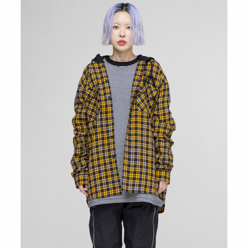 [아워히스토리]ORS Hood Check Shirt_Yellow