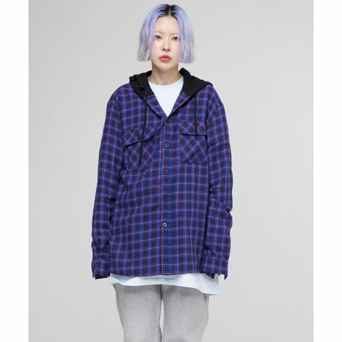 [아워히스토리]ORS Hood Check Shirt_Blue