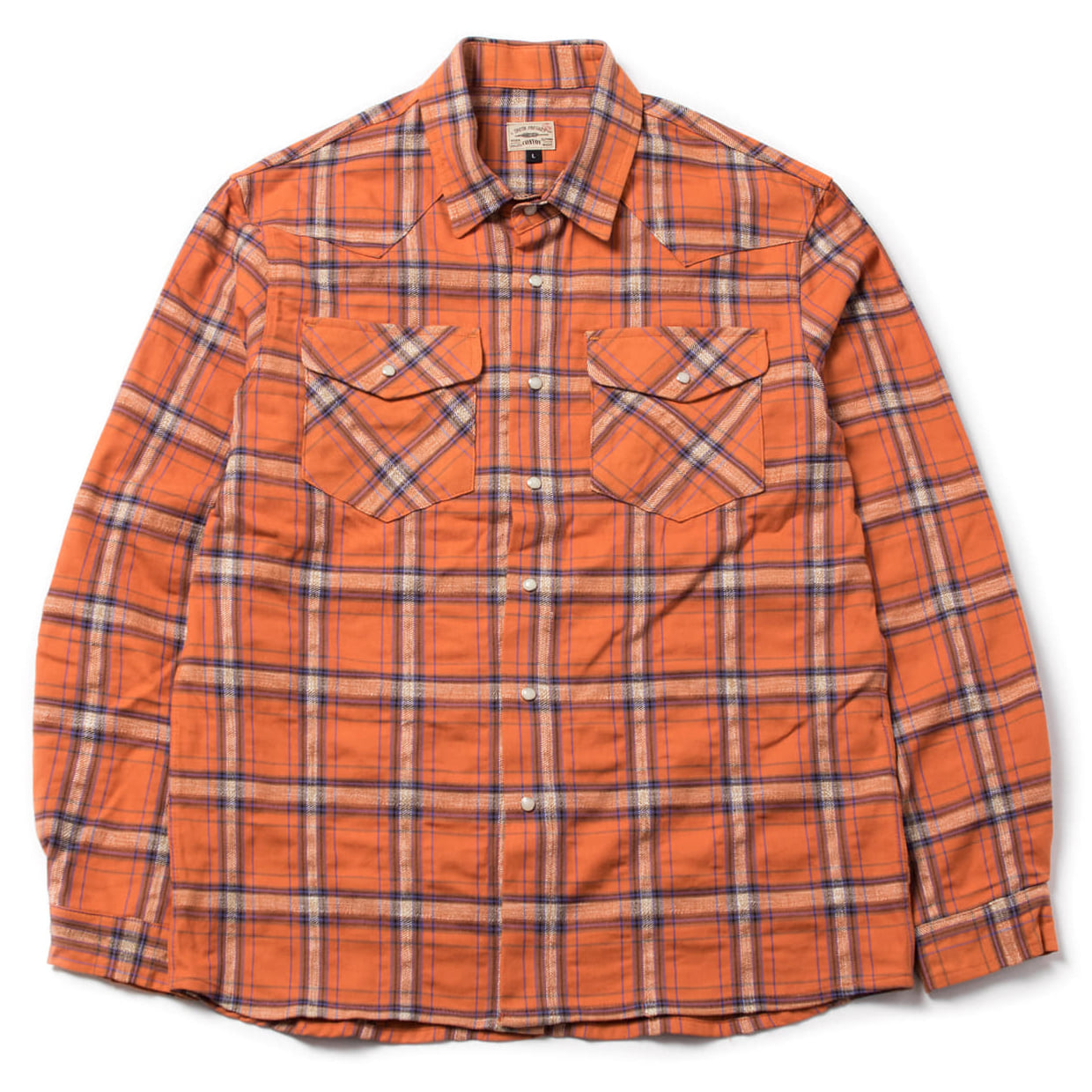 [콘보이] check Western shirt orange