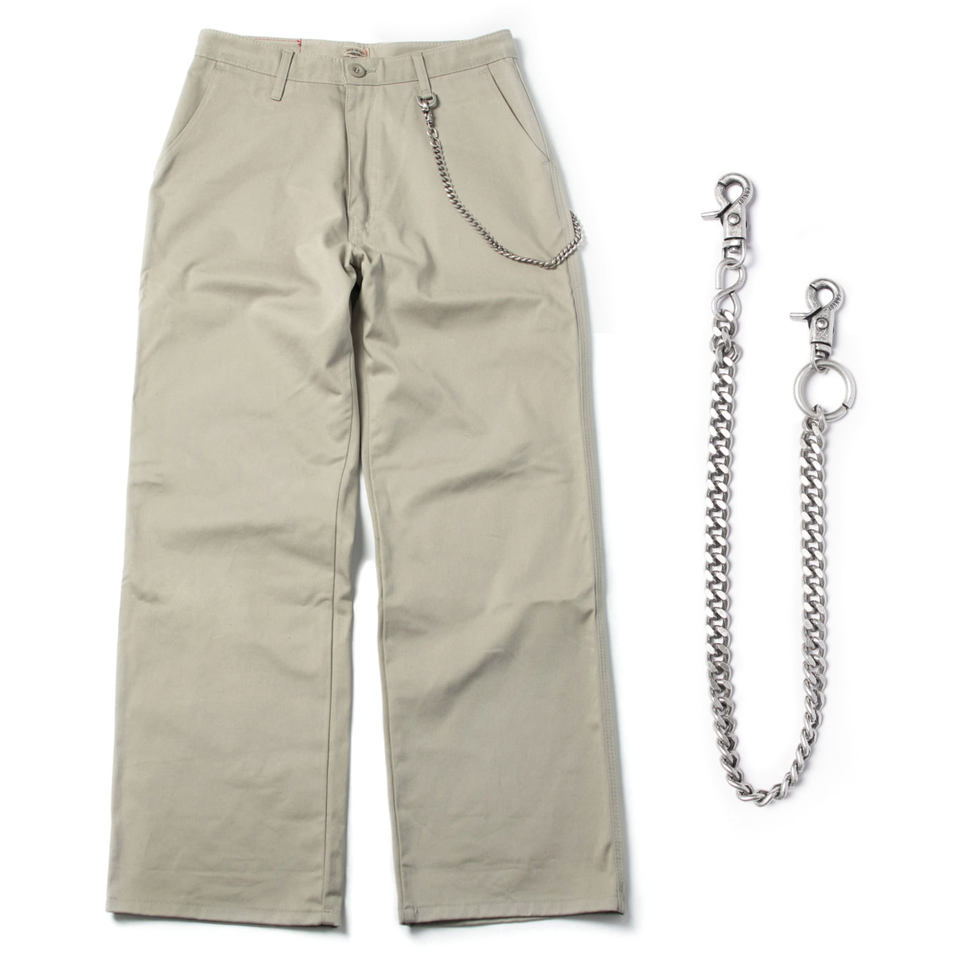[콘보이] (chain set) cotton D ring wide pants light khaki