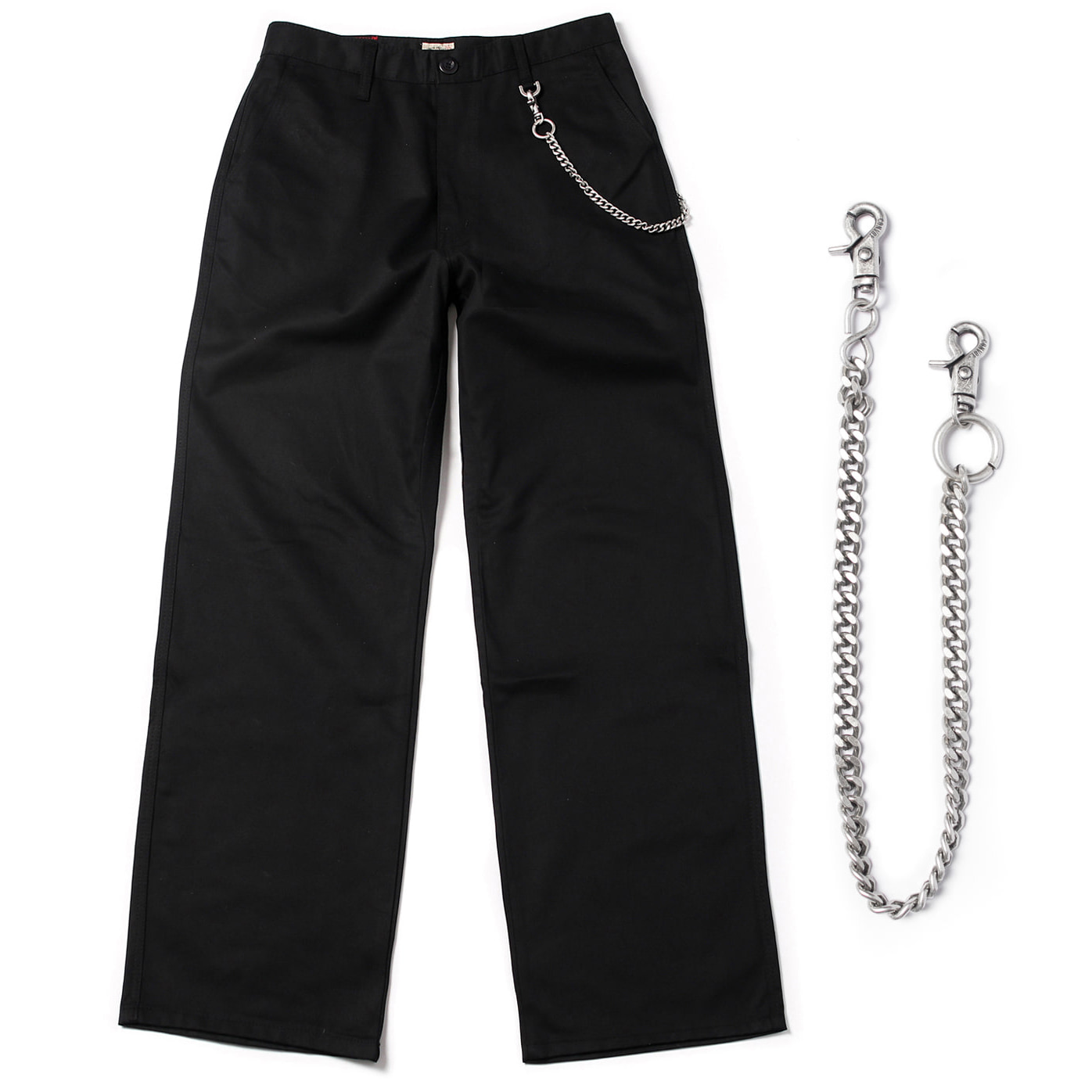 [콘보이] (chain set) cotton D ring wide pants black