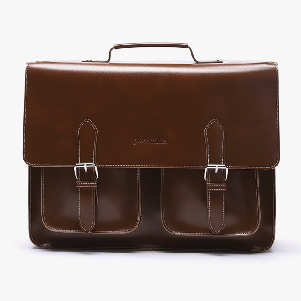 [피스메이커]LEATHER SATCHEL BAG LARGE (BROWN)