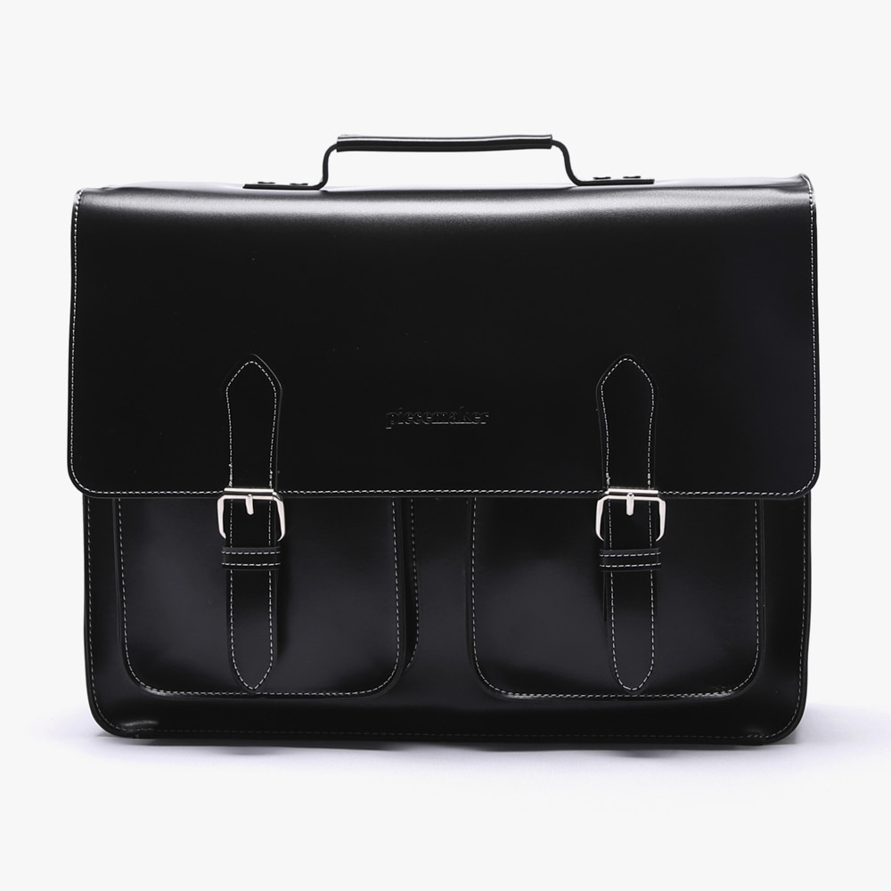 [피스메이커]LEATHER SATCHEL BAG LARGE (BLACK)