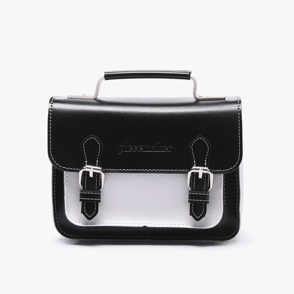 [피스메이커]LEATHER SATCHEL BAG MINI (BLACK WHITE)