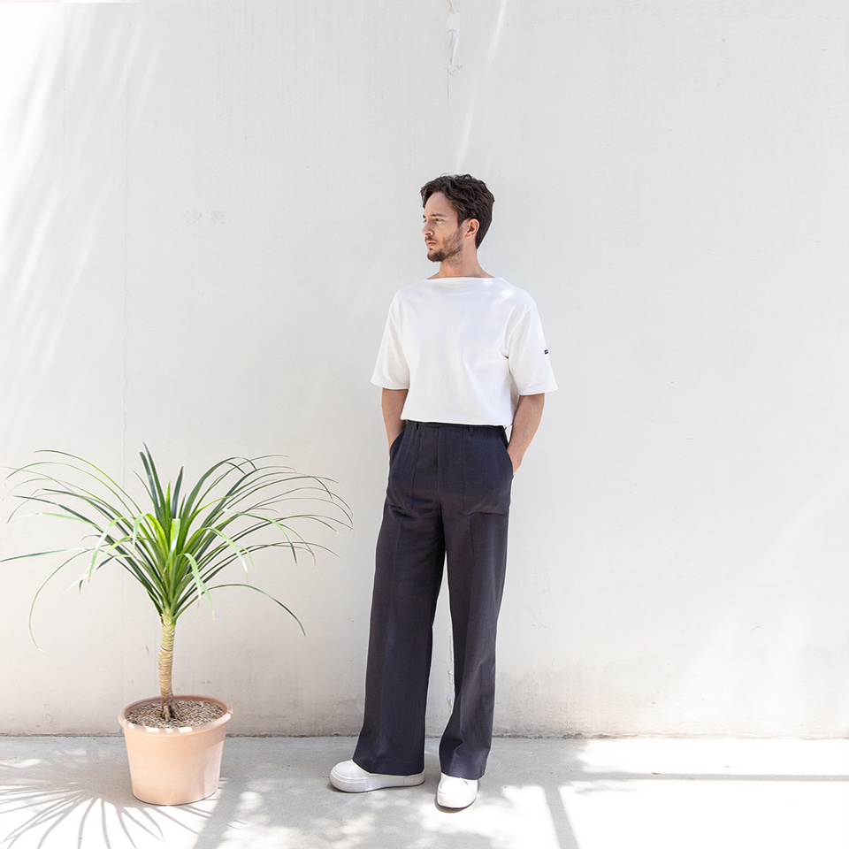 [알로스]Panel Linen Trousers [ Midnight Navy