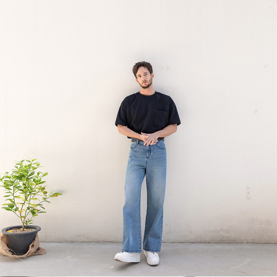 [알로스]Wide Fit Indigo Jeans