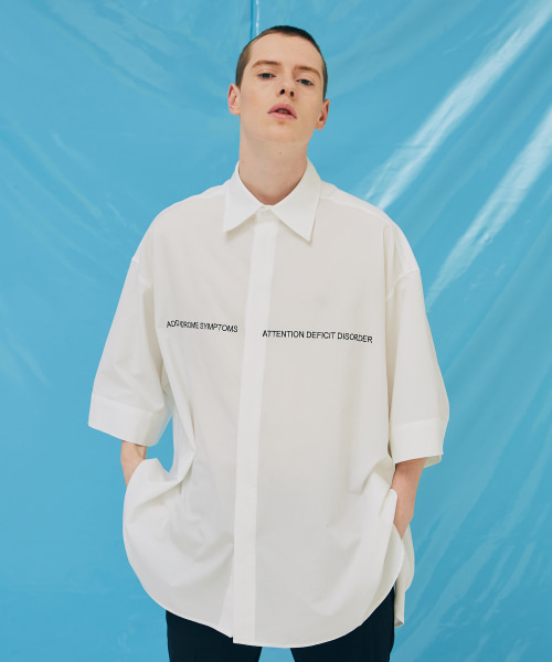 [에드]LETTERING AVANTGARDE SHORT SLEEVE SHIRTS WHITE
