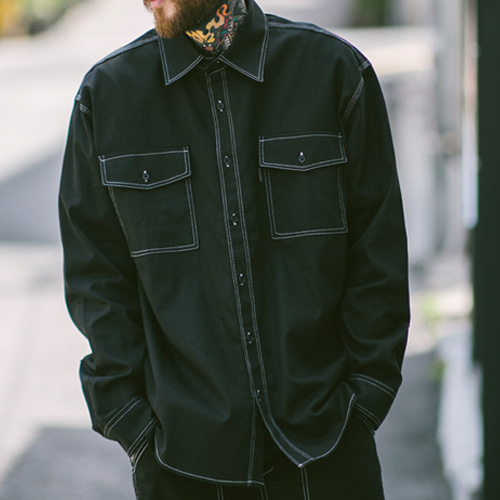 [테이크이지]STITCH WORK SHIRTS (BLACK)