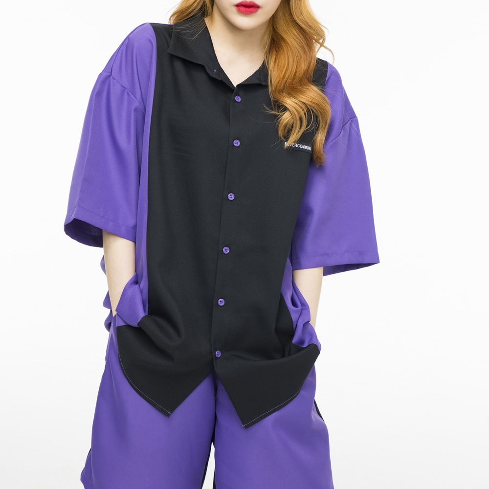[네버커먼] Half Shirt (purple/black)