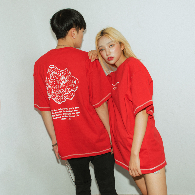 [A.Clown(에이클라운)]Red Rose-Eye Stitch Half-Tee