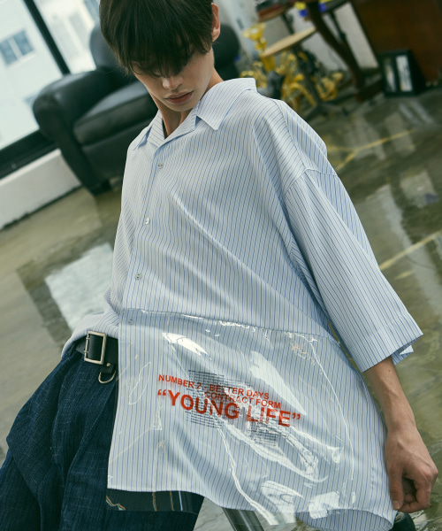 [에드]ADD PVC AVANTGARDE OPEN COLLAR SHIRTS BLUE