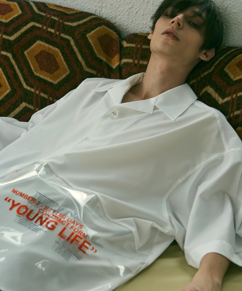 [에드]ADD PVC AVANTGARDE OPEN COLLAR SHIRTS WHITE