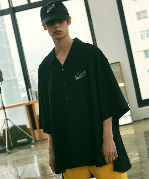 [에드]ADD SIGN AVANTGARDE OPEN COLLAR SHIRTS BLACK