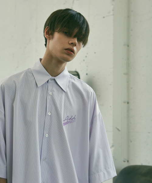[에드]ADD SIGN PINSTRIPE SHIRTS PURPLE