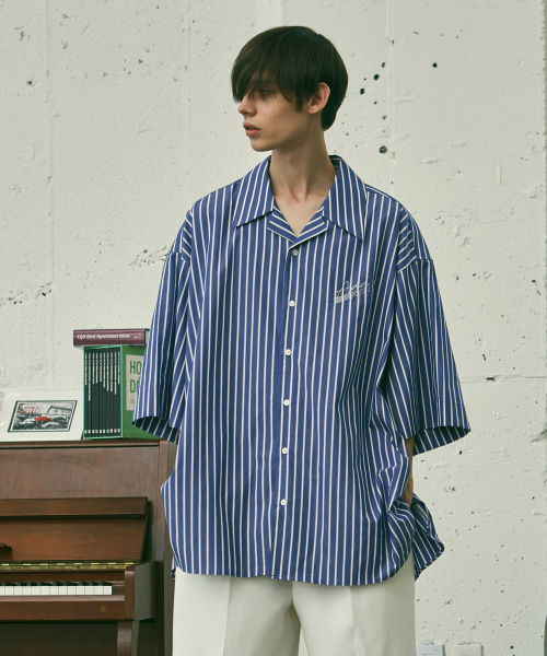 [에드]AQUA AVANTGARDE OPEN COLLAR STRIPE SHIRTS BLUE
