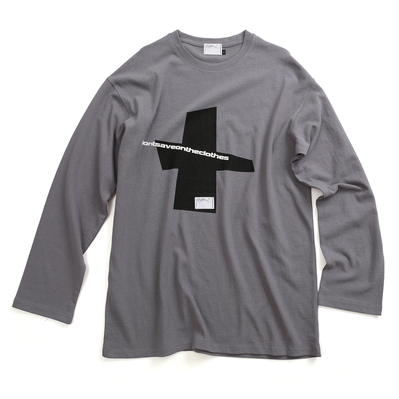 [아이사피] Cross Slogan T-Shirt Gray
