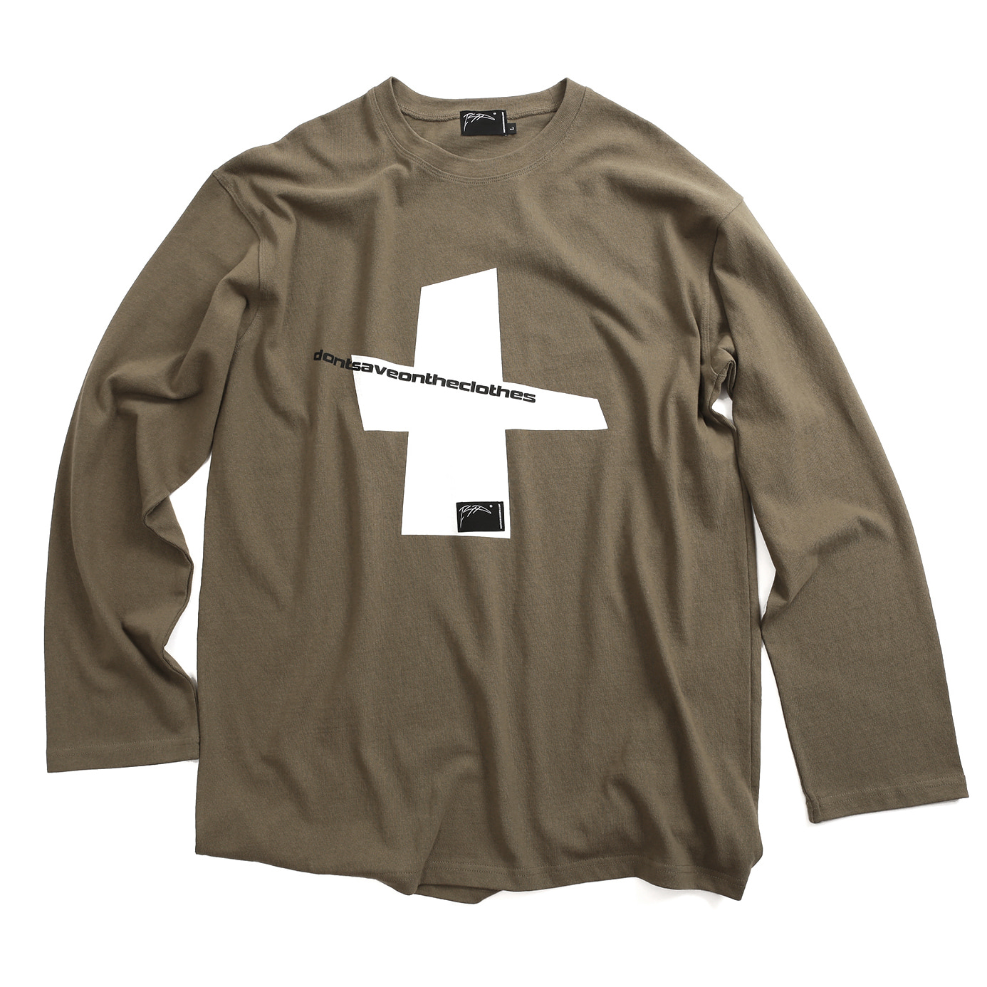 [아이사피] Cross Slogan T-Shirt Brown
