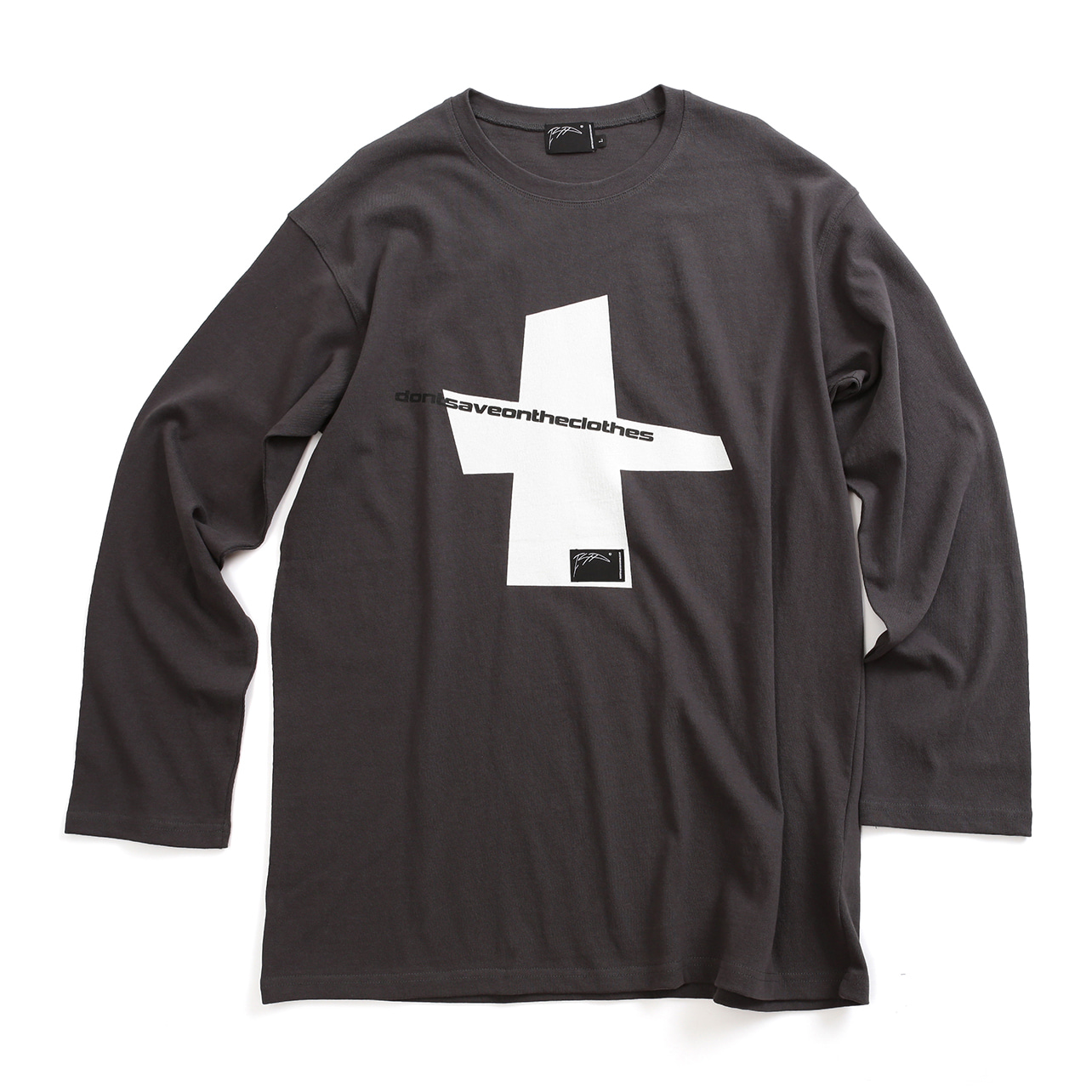 [아이사피] Cross Slogan T-Shirt Dark