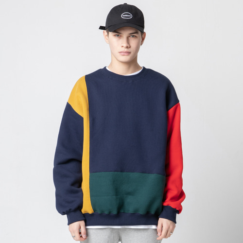[테이크이지]MIX BLOCK CREWNECK