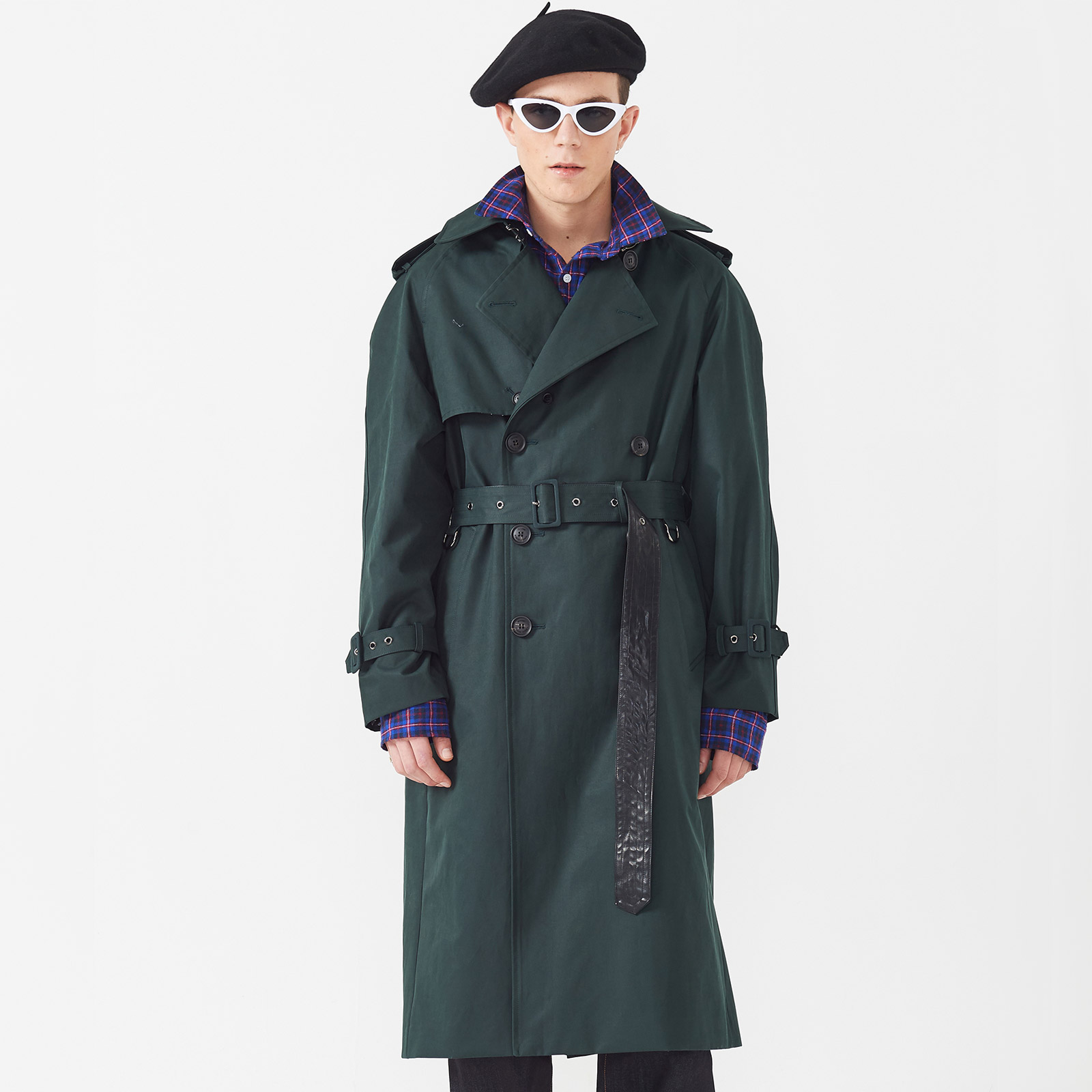 [엠엠아이씨]WIDE VENT TRENCH COAT - DEEP GREEN -[JK-703-DGR]