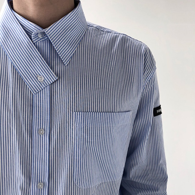 [4BLESS] Stripe Tied Shirts Skyblue