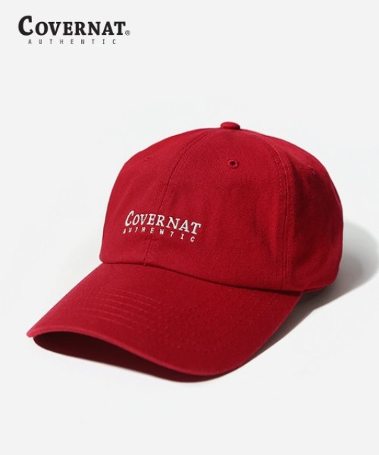 [커버낫] AAUTHENTIC LOGO CURVE CAP RED -오프라인-