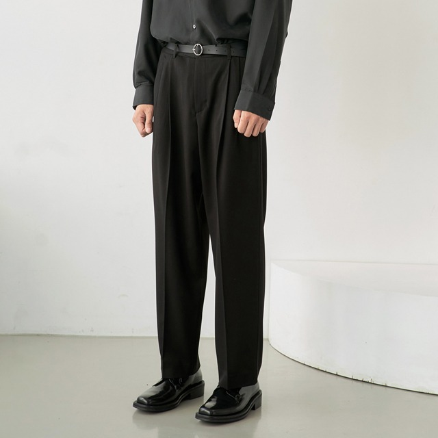 [노운] wide tapered pants (black)