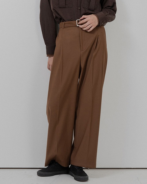 [바이플래퍼] BF belt twotuck wide slacks brown