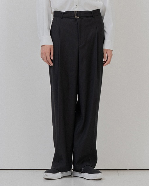 [바이플래퍼] BF belt twotuck wide slacks black