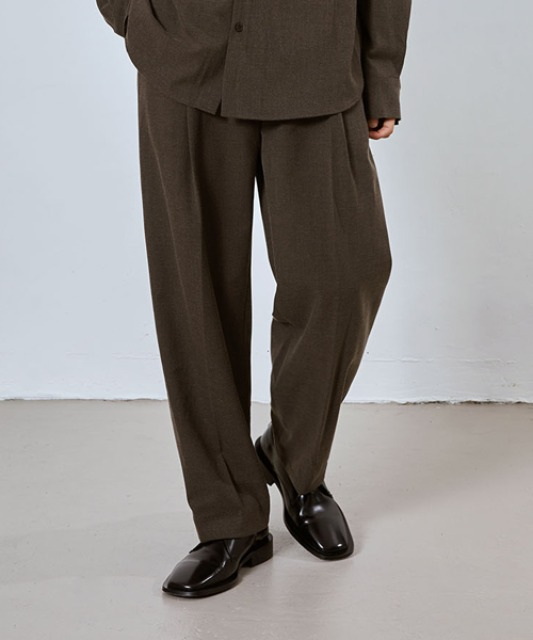 [밈더워드로브] SAGE Wool Blended Muobi Pants_Brown (Set-up)