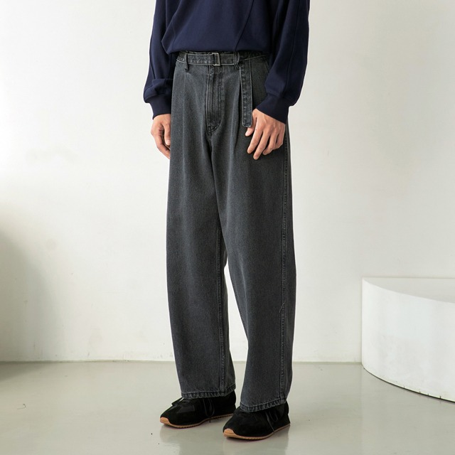 [노운] belted wide denim pants (grey/black stitch)