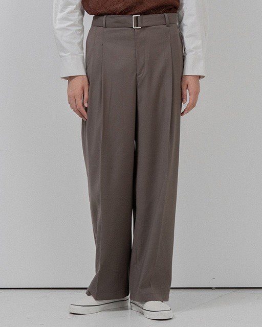 [바이플래퍼] BF belt twotuck wide slacks khaki
