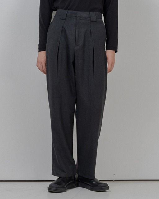 [바이플래퍼] BF wide belt loop slacks gray