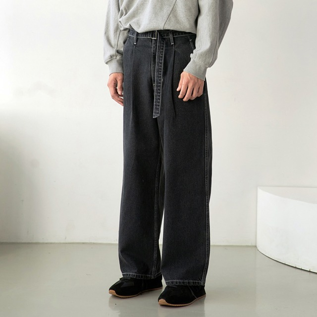 [노운] belted wide denim pants (charcoal/white stitch)