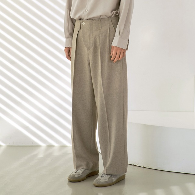 [노운] wave front wide pants (khaki beige)