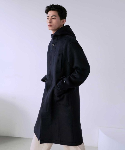 [노운] hooded single breasted coat (navy)_10월 26일 배송