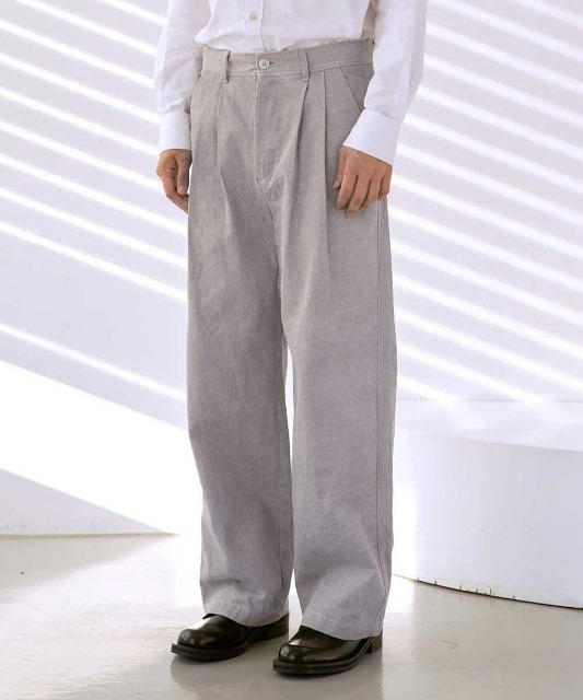 [노운] back pocket wide pants (light grey)
