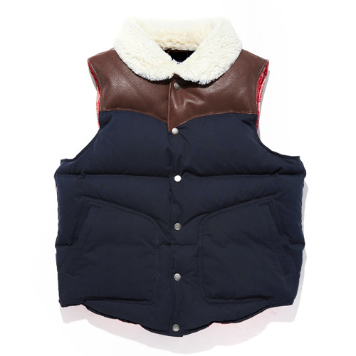 DOWN LEATHER VEST NAVY