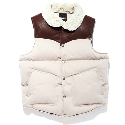 DOWN LEATHER VEST IVORY