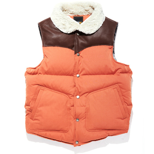 DOWN LEATHER VEST CARROT