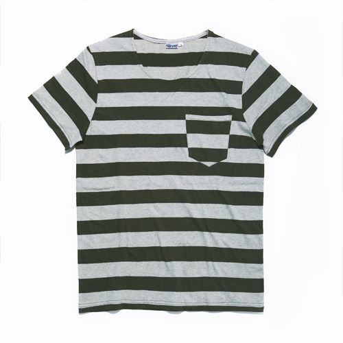 HEATHER STRIPE T OLIVE