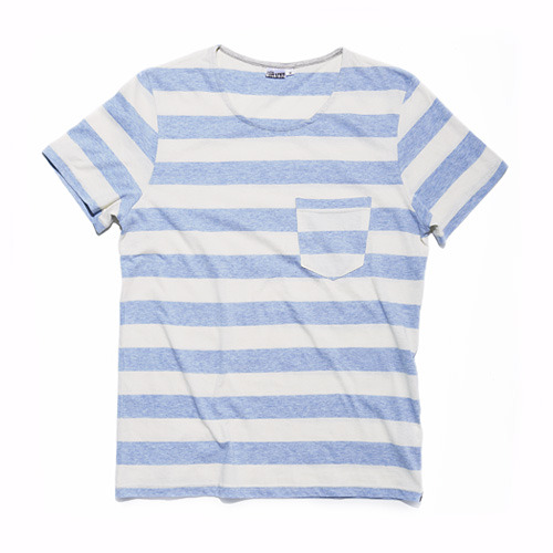 HEATHER STRIPE T BLUE