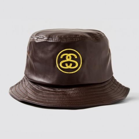 SS Link Leather Bucket Hat Brown